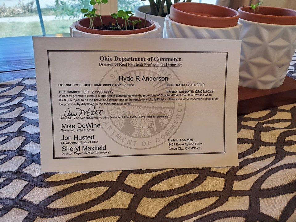 FOR IMMEDIATE RELEASE Hyde Anderson Awarded Ohio Home Inspector License